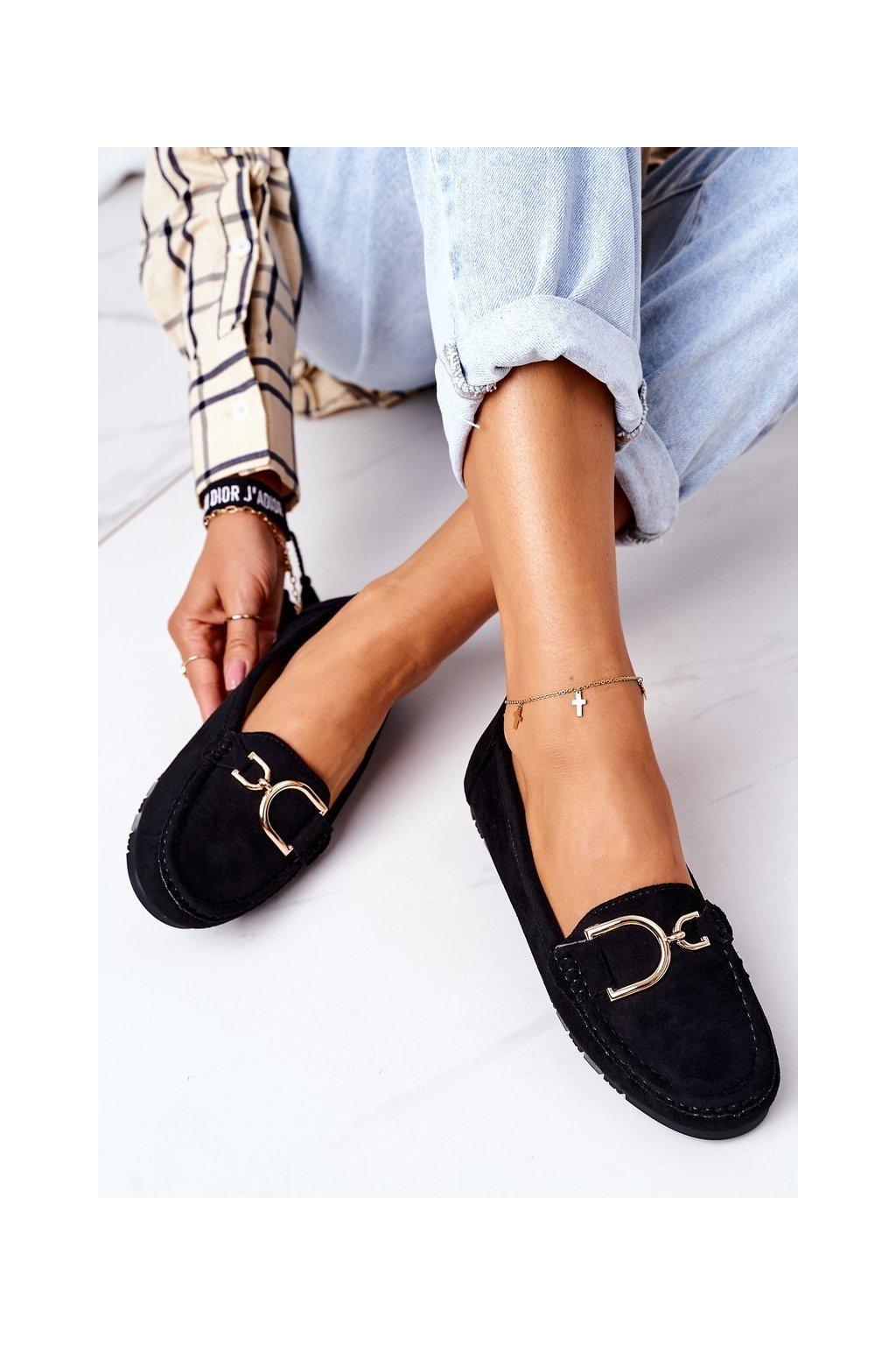 Dámske mokasíny farba čierna kód obuvi GS19 BLACK
