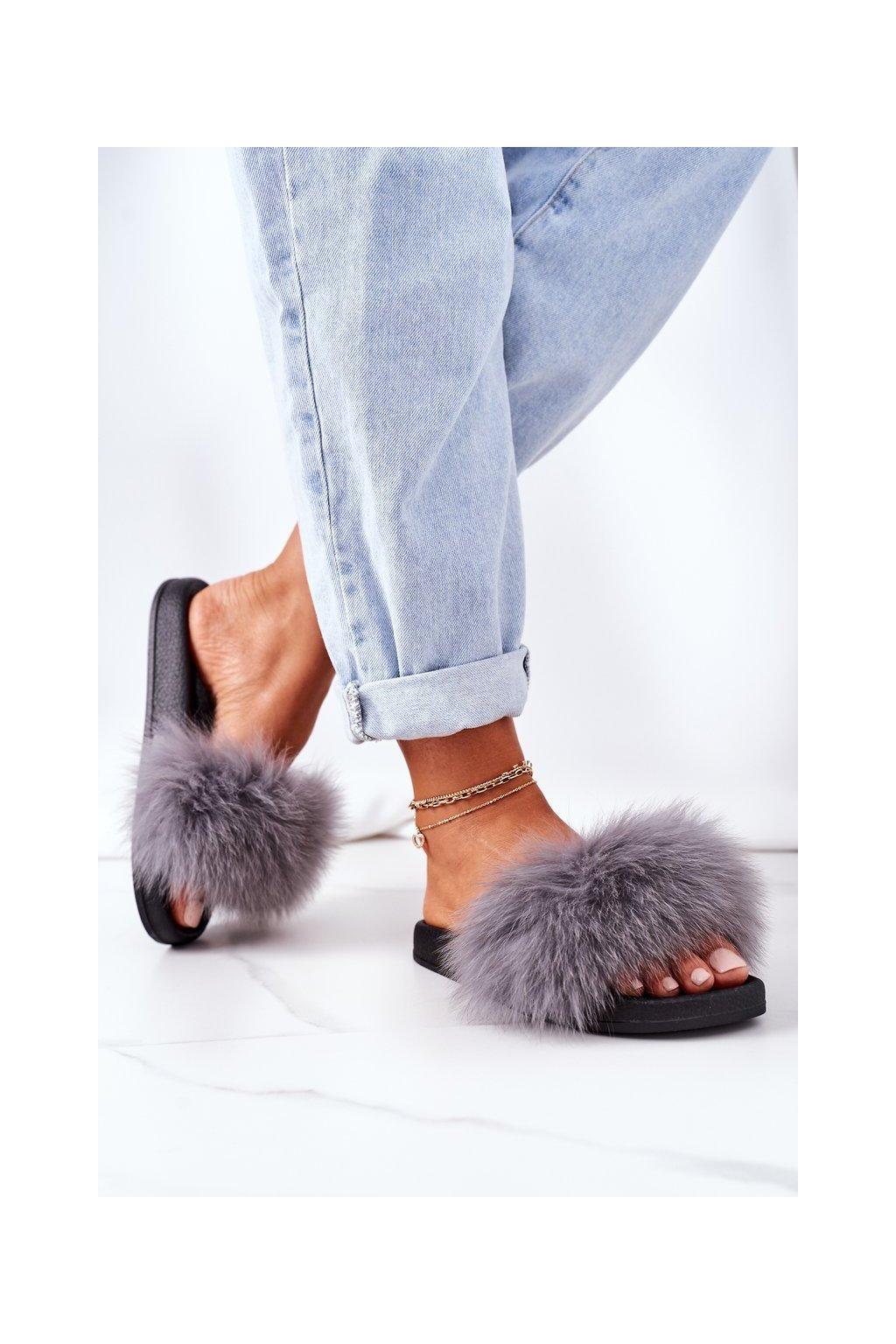 Dámske šľapky farba sivá kód obuvi WB01 DK.GREY