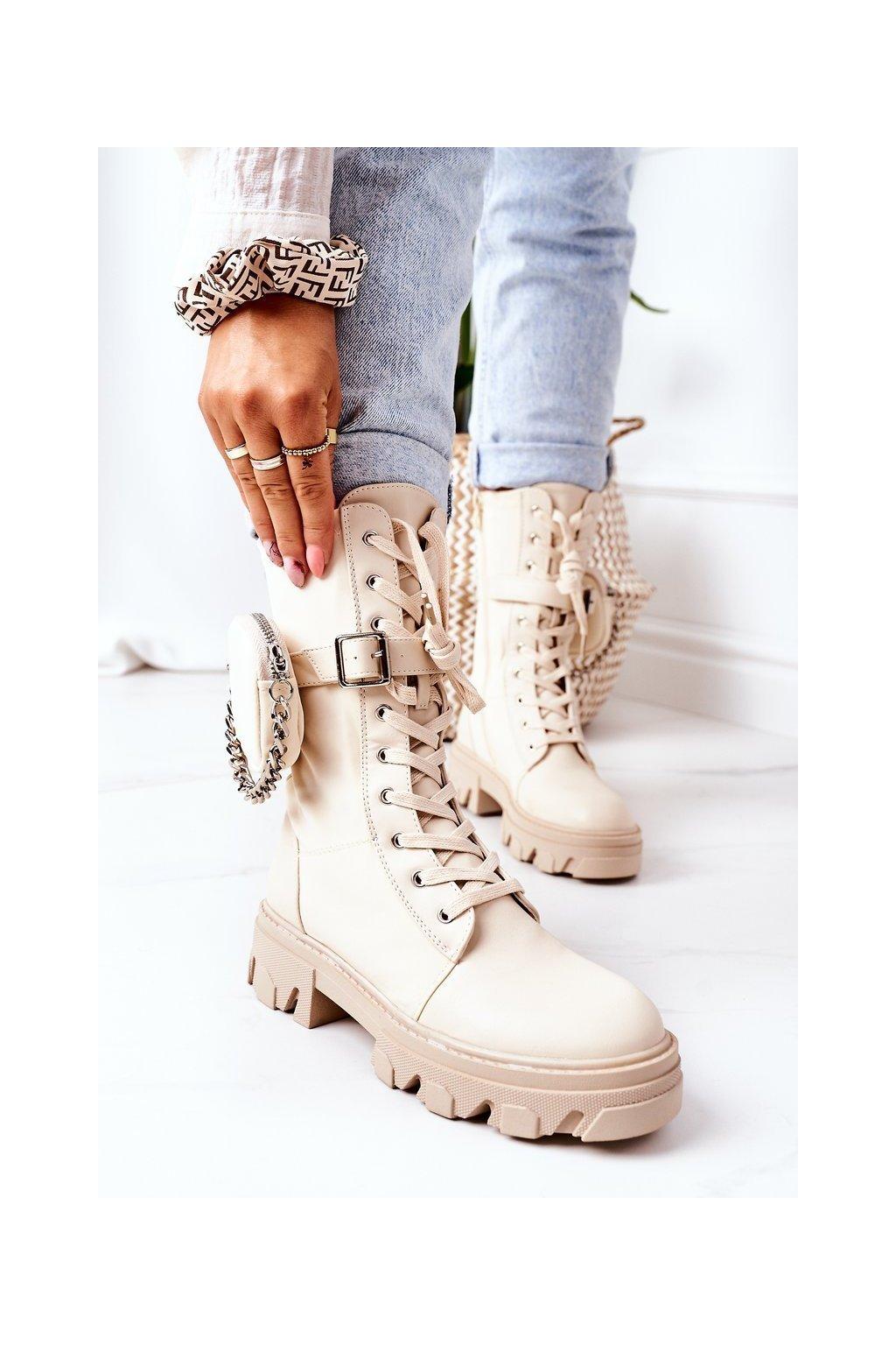 Členkové topánky na podpätku farba hnedá kód obuvi QT30 BEIGE