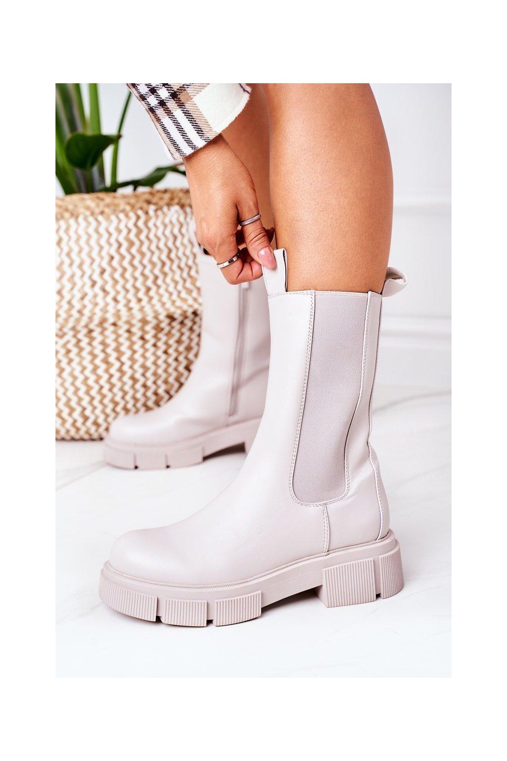 Členkové topánky na podpätku farba sivá kód obuvi QT16 GREY