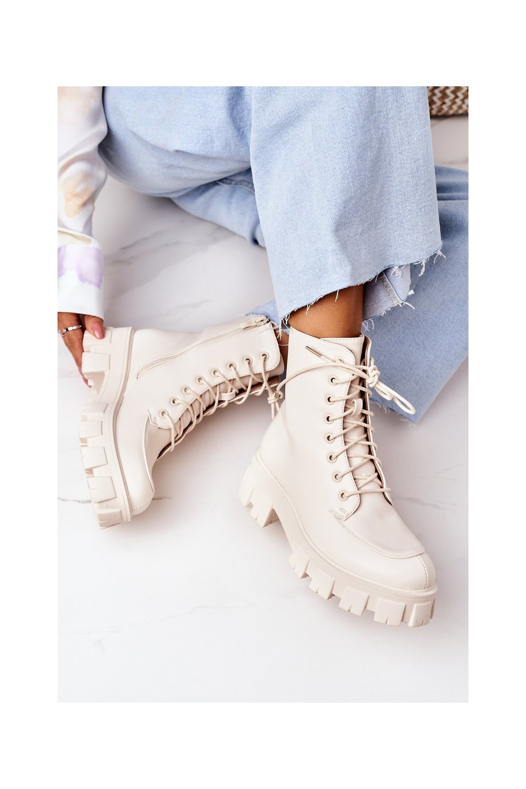 Členkové topánky na podpätku farba hnedá kód obuvi NC1185 BEIGE