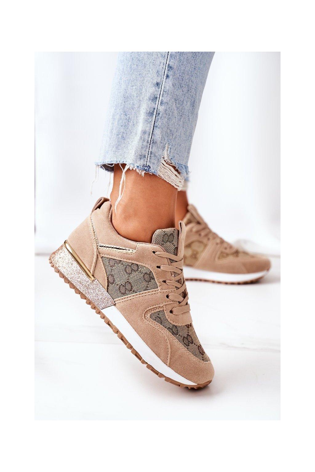 Dámske tenisky farba hnedá kód obuvi 21SP26-4392 BEIGE