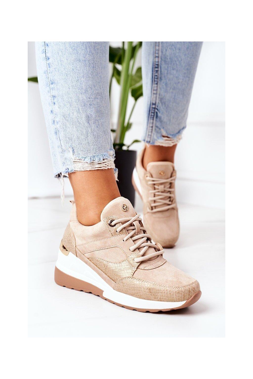 Dámske tenisky farba hnedá kód obuvi 21SP35-4390 BEIGE