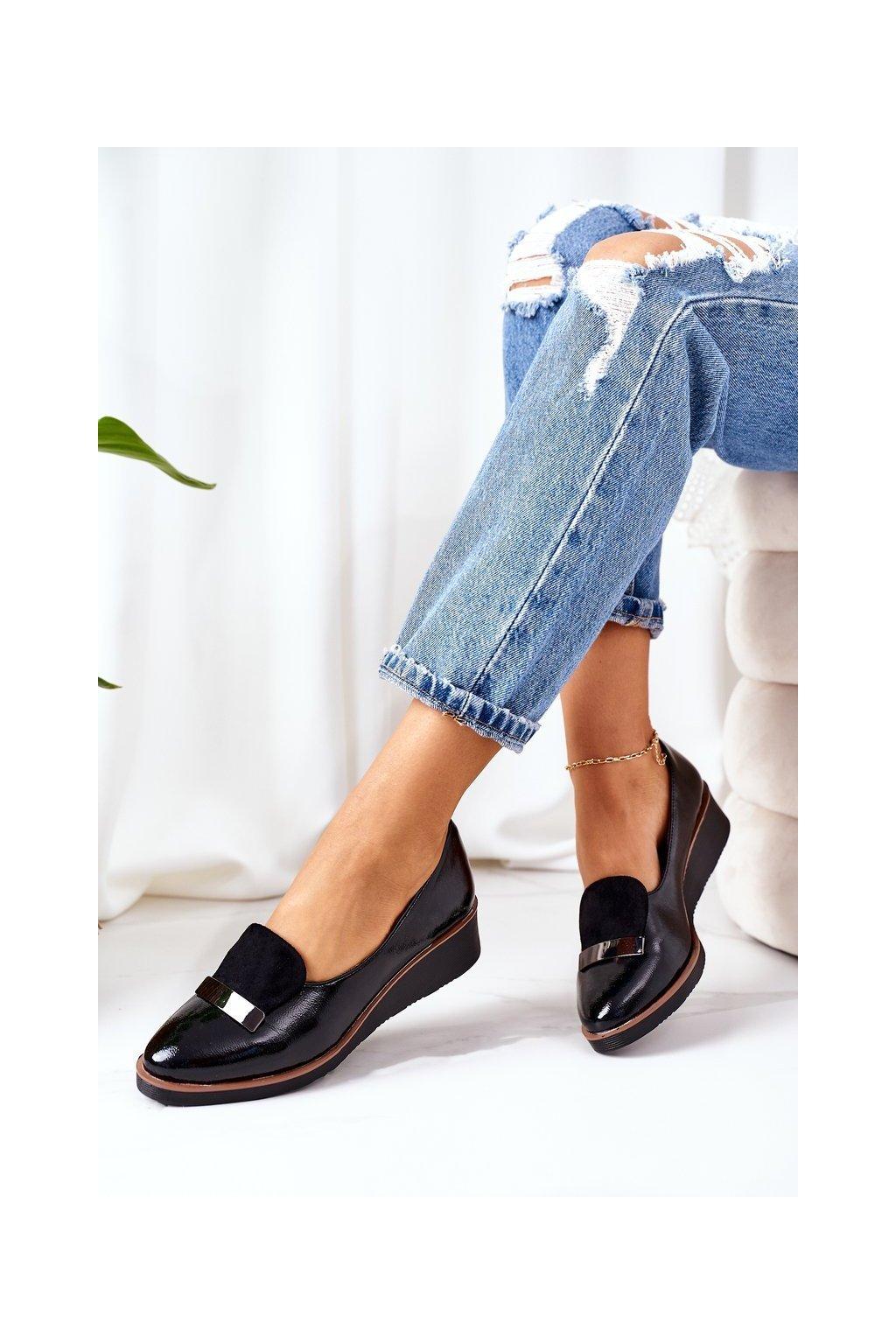 Dámske poltopánky farba čierna kód obuvi 21-12032 BLACK