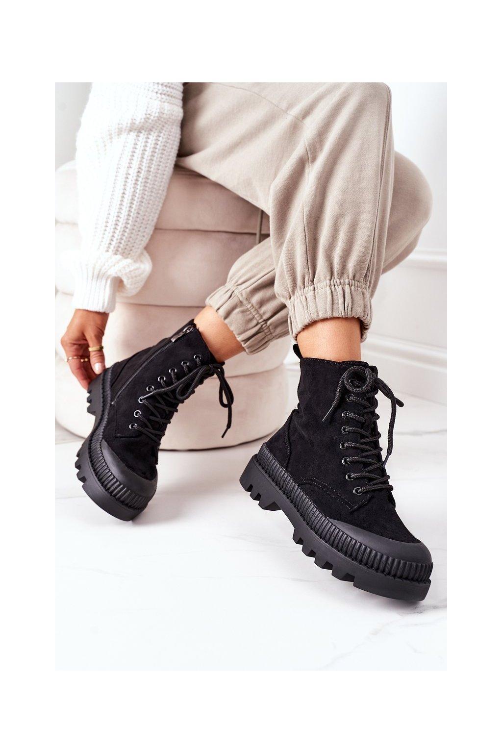 Členkové topánky na podpätku farba čierna kód obuvi 0619 BLACK