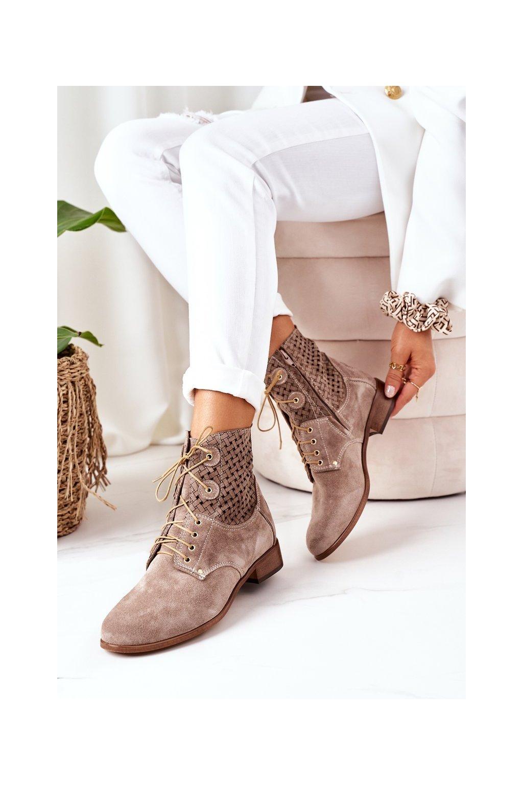 Členkové topánky na podpätku farba hnedá kód obuvi 882 CAPUCINO WEL