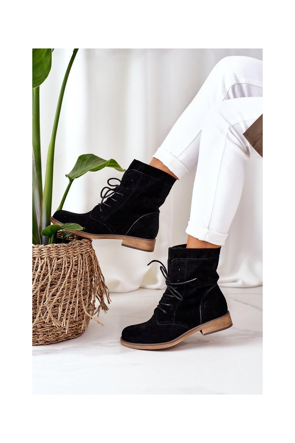 Členkové topánky na podpätku farba čierna kód obuvi NC1198 BLACK