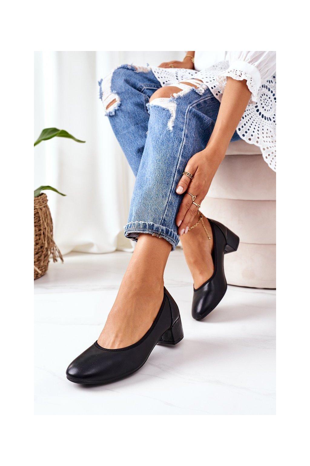 Dámske lodičky farba čierna kód obuvi 20-L2 BLACK