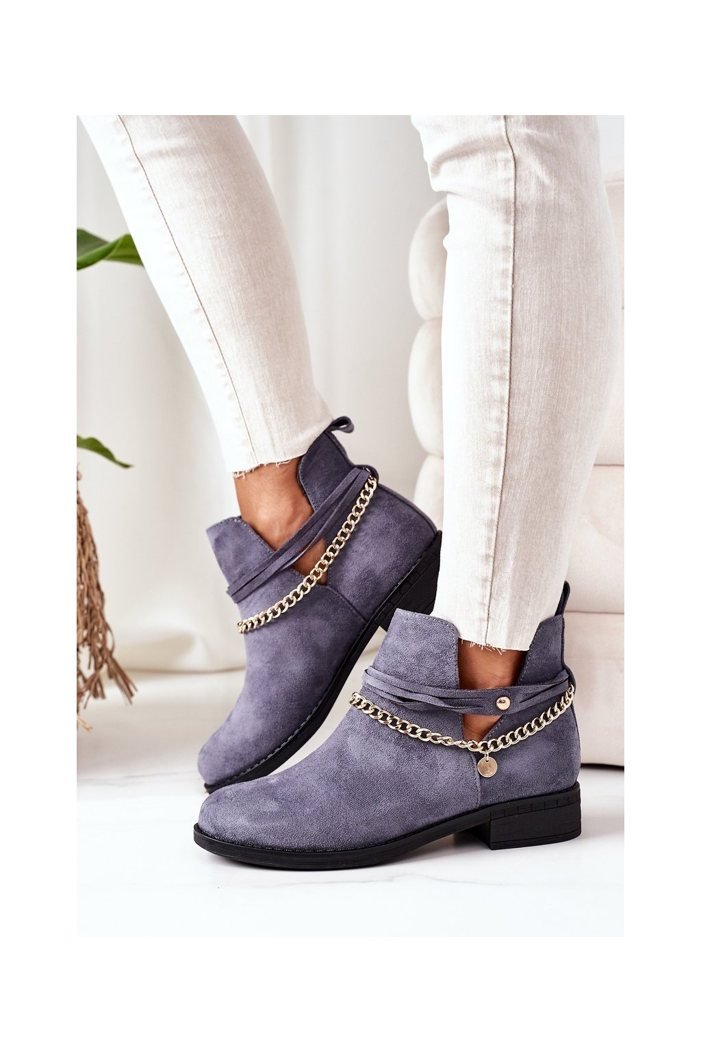 Členkové topánky na podpätku farba modrá kód obuvi ST-71 BLUE