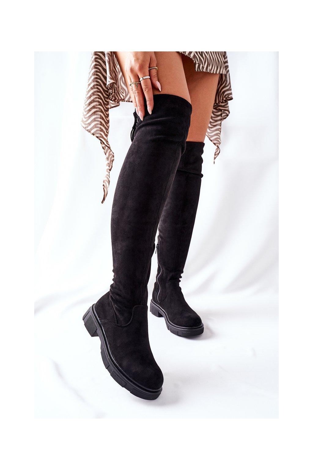 Dámske čižmy farba čierna kód obuvi YK09 BLACK
