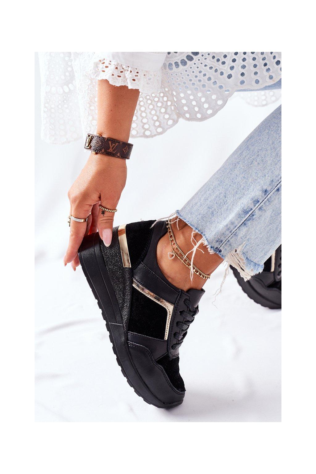 Dámske tenisky farba čierna kód obuvi 21132 BLK