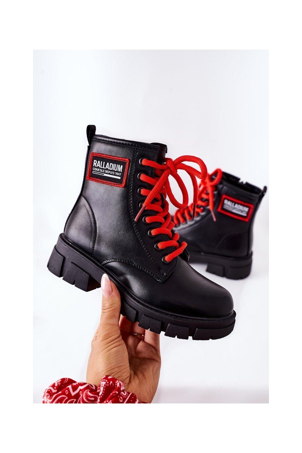 Detské členkové topánky farba čierna kód obuvi 220-2A BLK