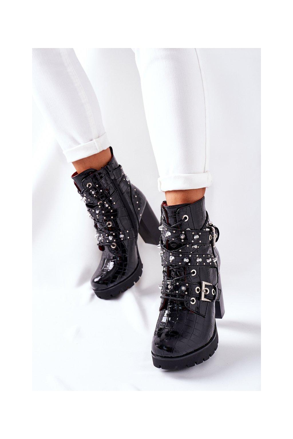 Členkové topánky na podpätku farba čierna kód obuvi M331 BLK MIRROR STONE