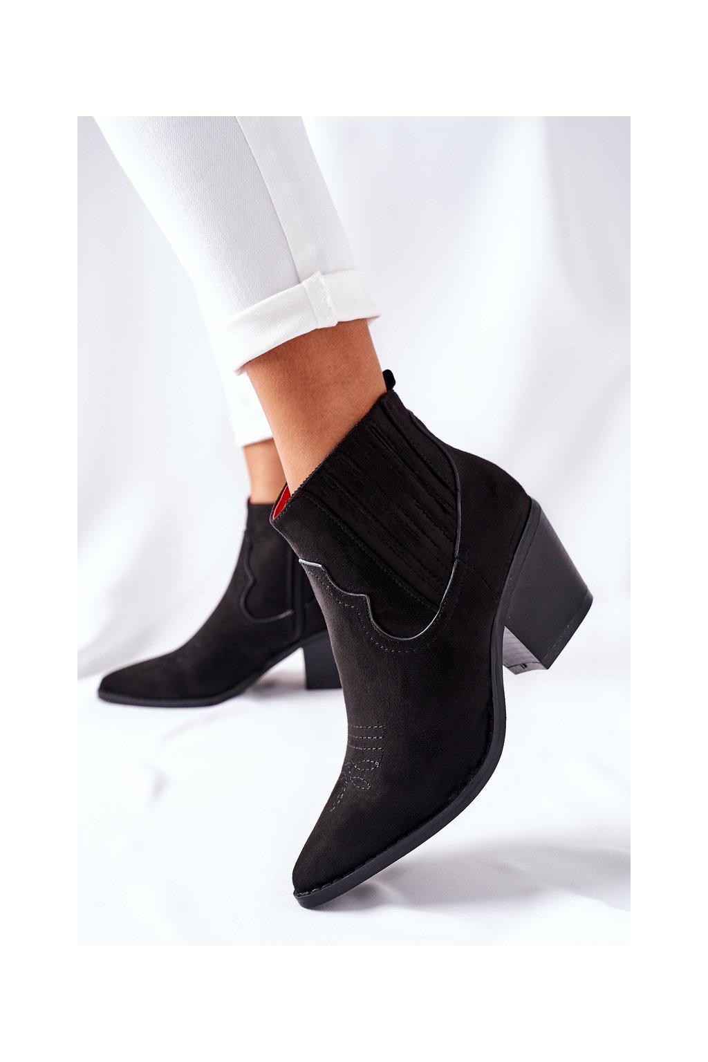 Členkové topánky na podpätku farba čierna kód obuvi 888-112 BLK