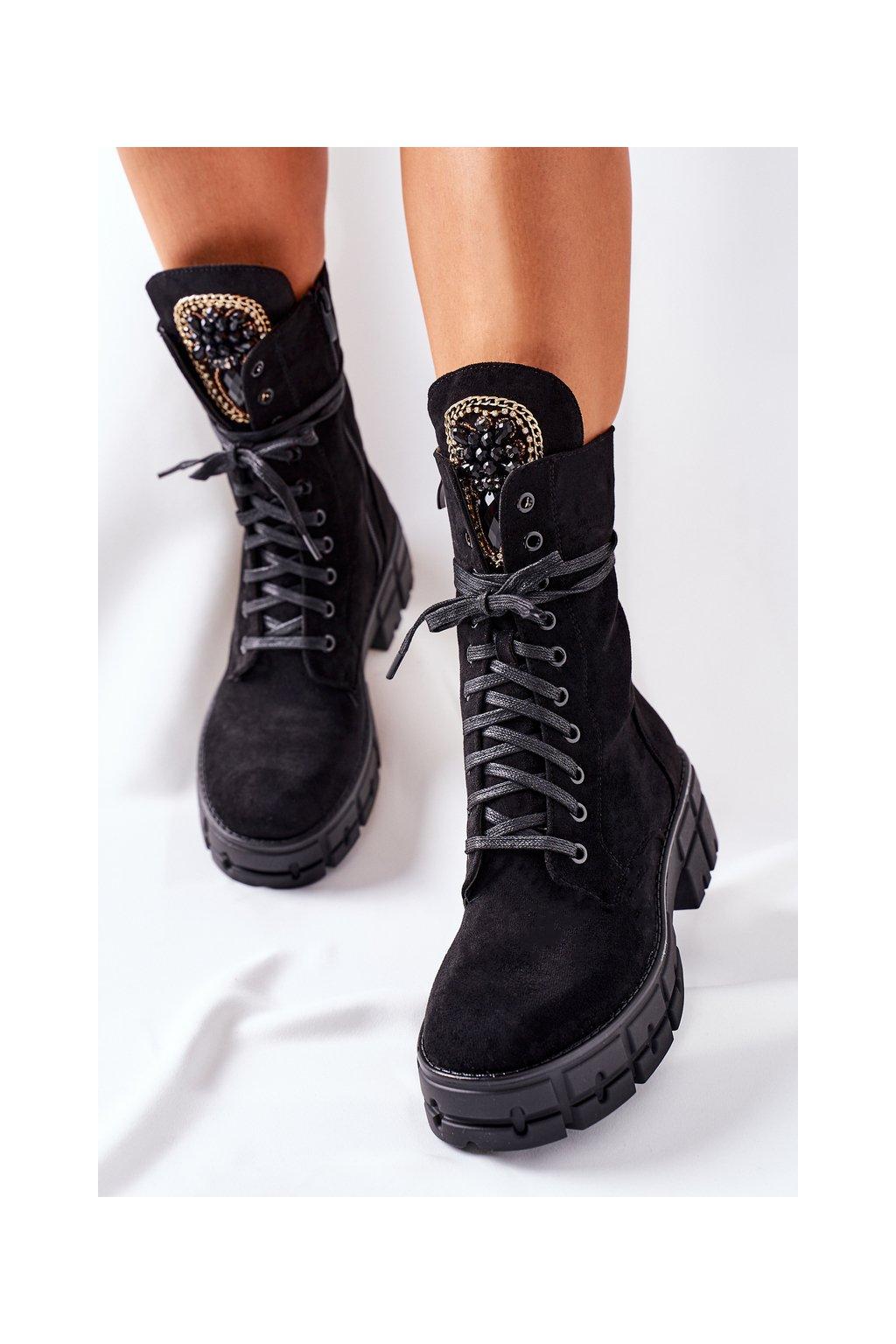 Členkové topánky na podpätku farba čierna kód obuvi DA79 BLK