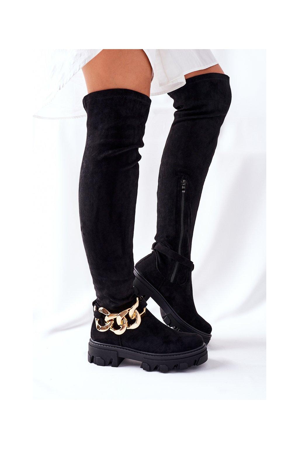 Dámske čižmy farba čierna kód obuvi DA83 BLK