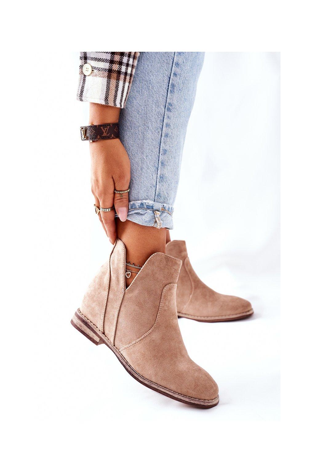 Členkové topánky na podpätku farba hnedá kód obuvi 208-2 BEIGE