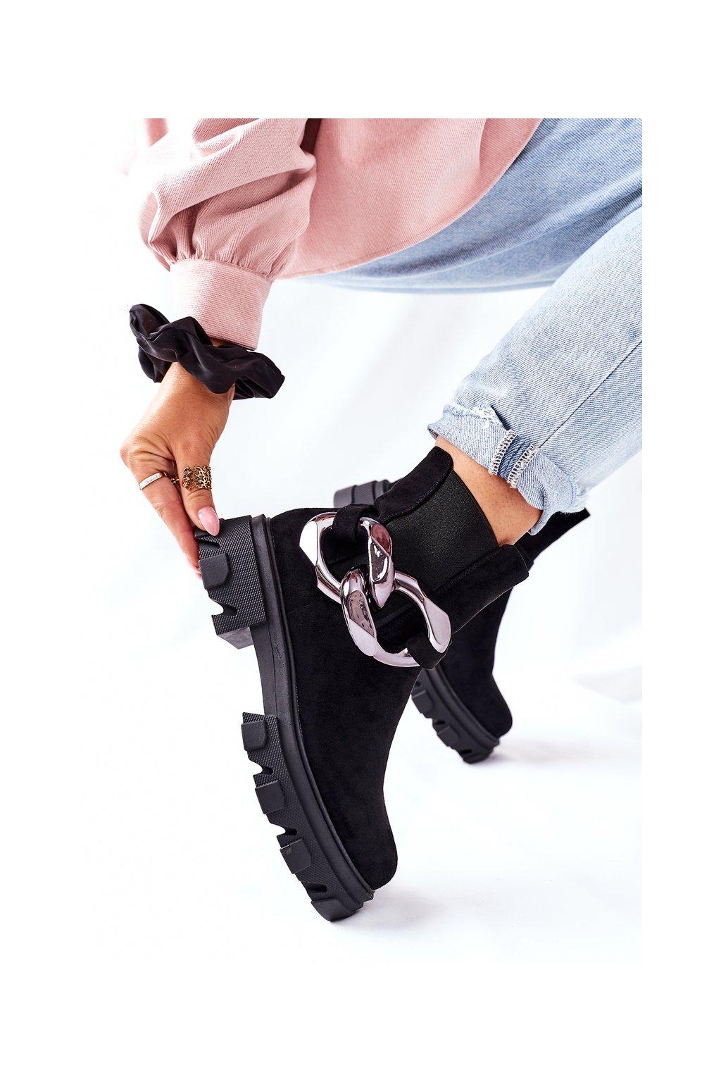 Členkové topánky na podpätku farba čierna kód obuvi L13107-9 BLK