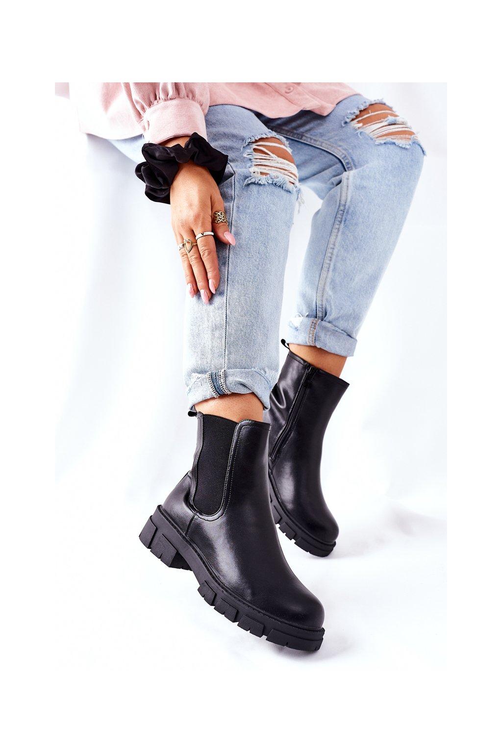 Členkové topánky na podpätku farba čierna kód obuvi 223-87 BLK