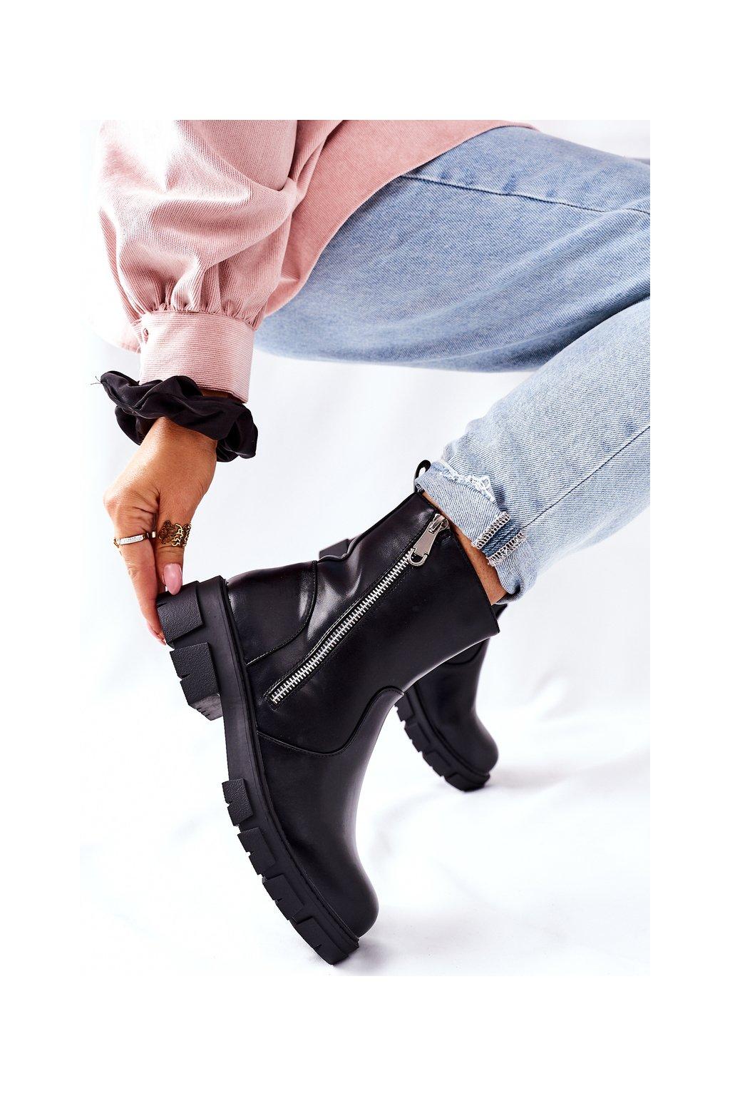 Členkové topánky na podpätku farba čierna kód obuvi 223-19b BLK