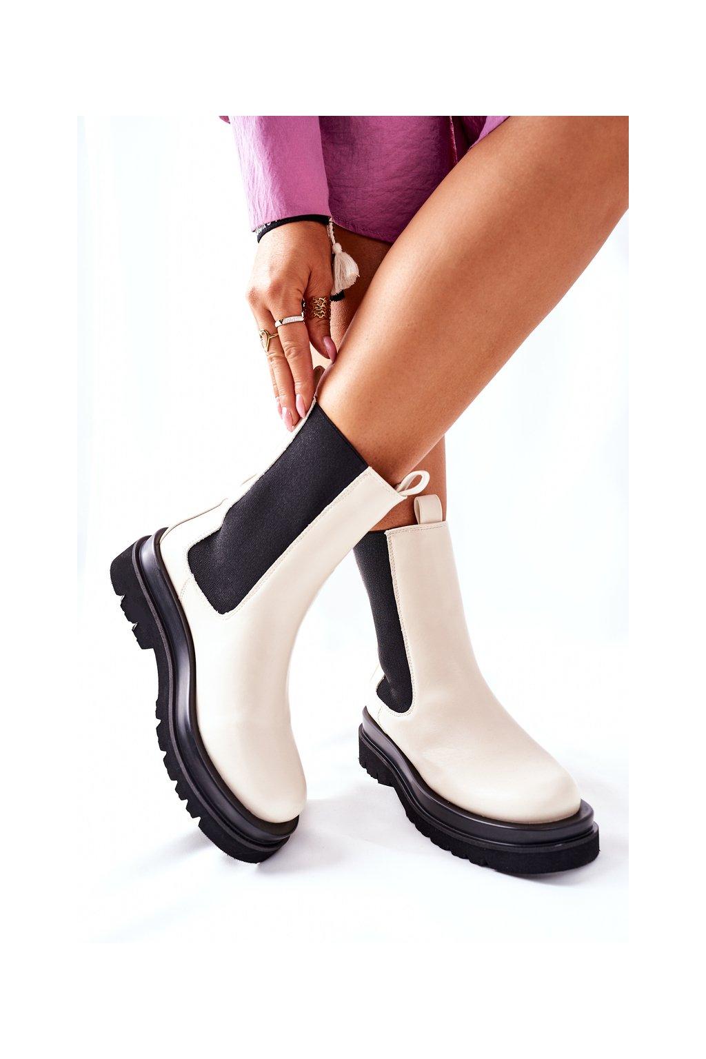 Členkové topánky na podpätku farba hnedá kód obuvi 7223 BEIGE
