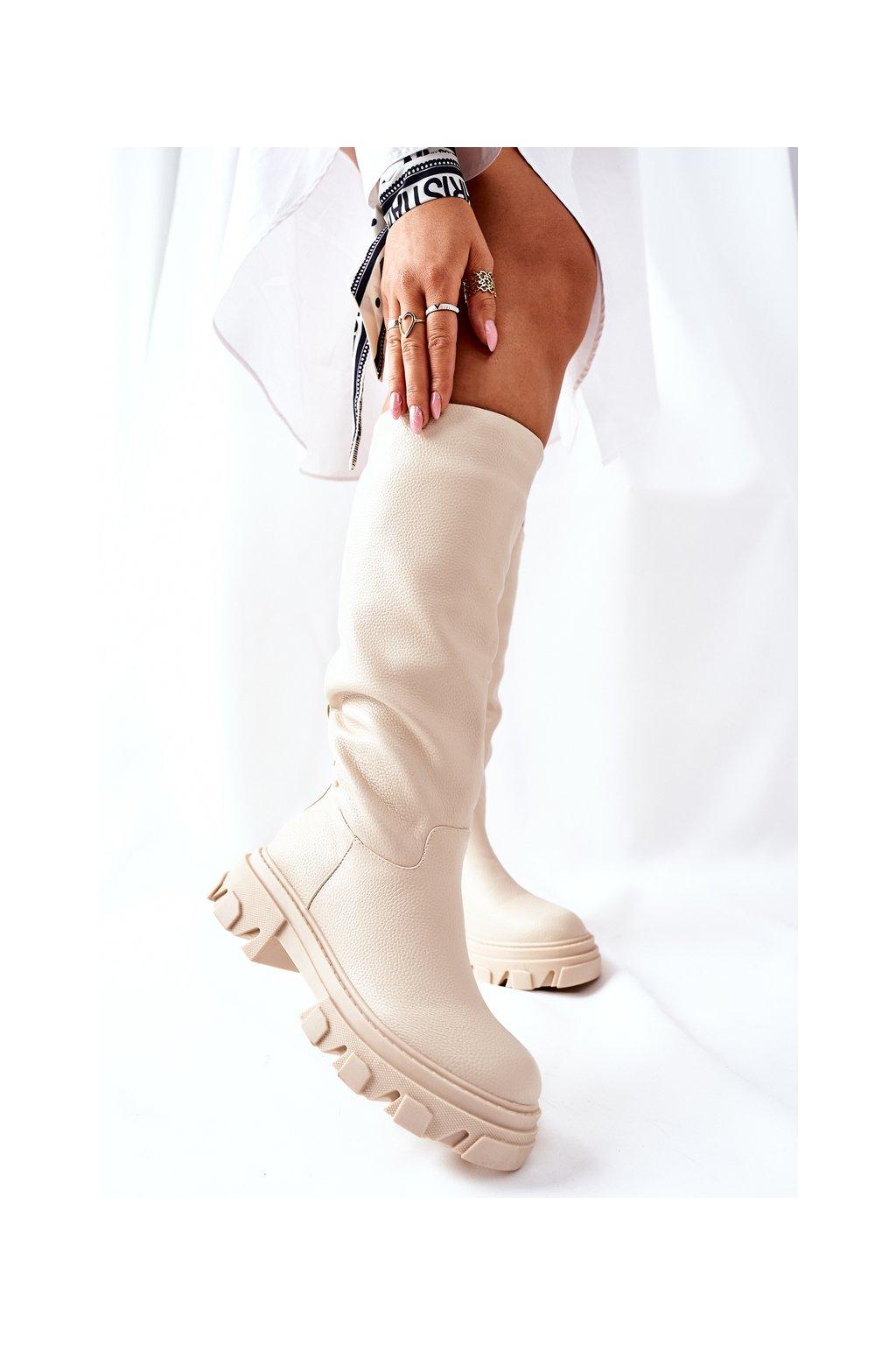 Dámske čižmy farba hnedá kód obuvi 12Y-1 BEIGE