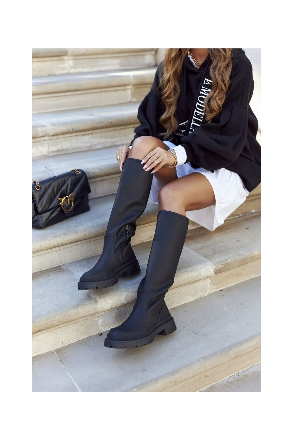 Dámske čižmy farba čierna kód obuvi 1396 BLK