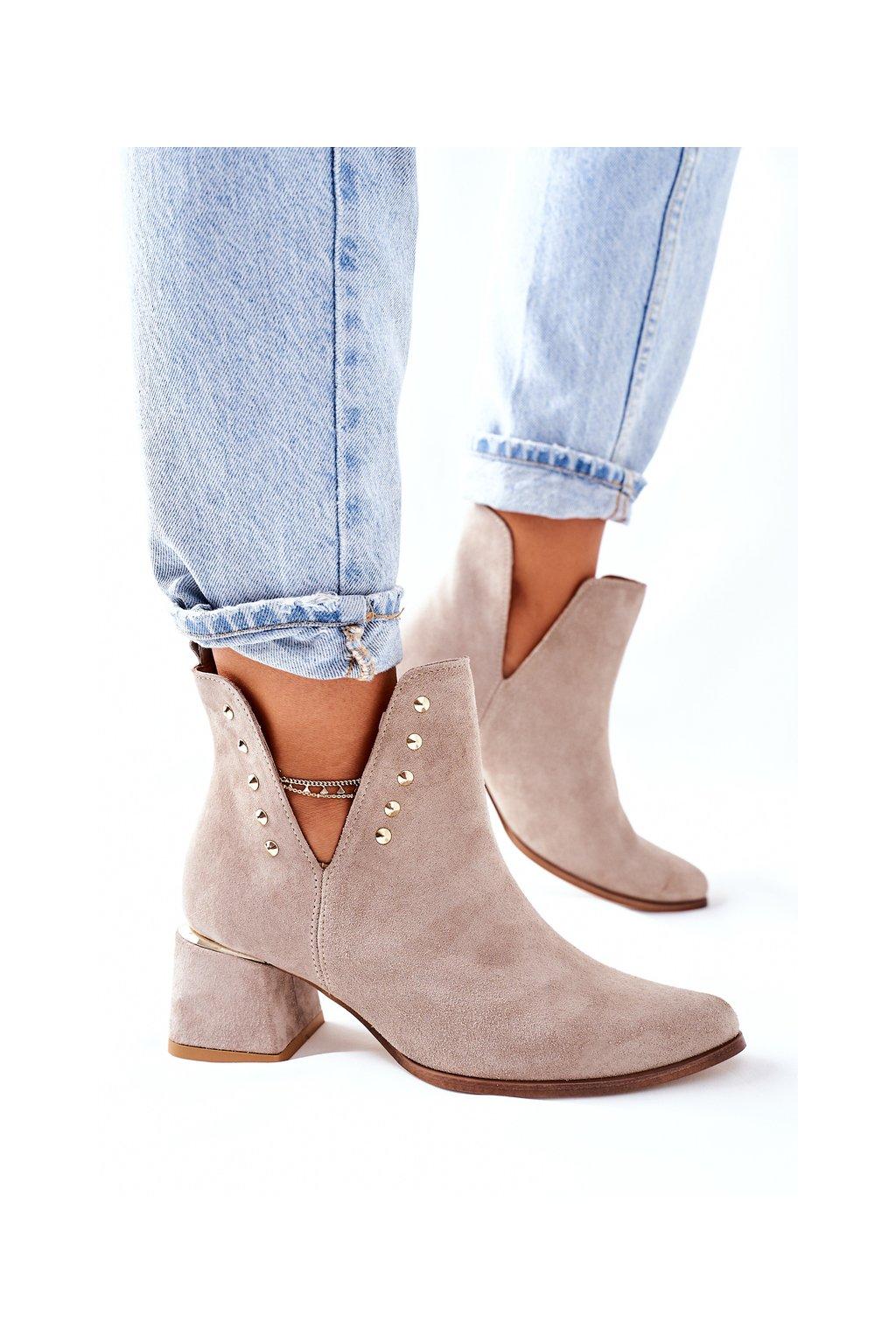 Členkové topánky na podpätku farba hnedá kód obuvi 3074/B CAPPUC WEL