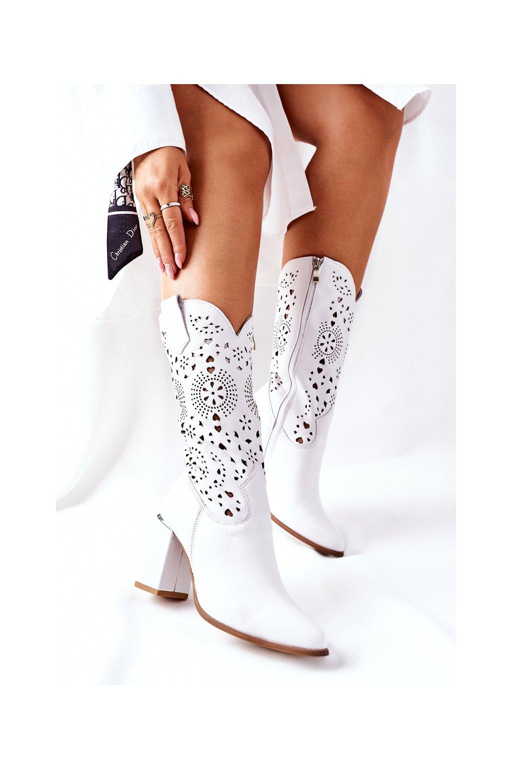 Dámske čižmy farba biela kód obuvi 2923/B WHITE