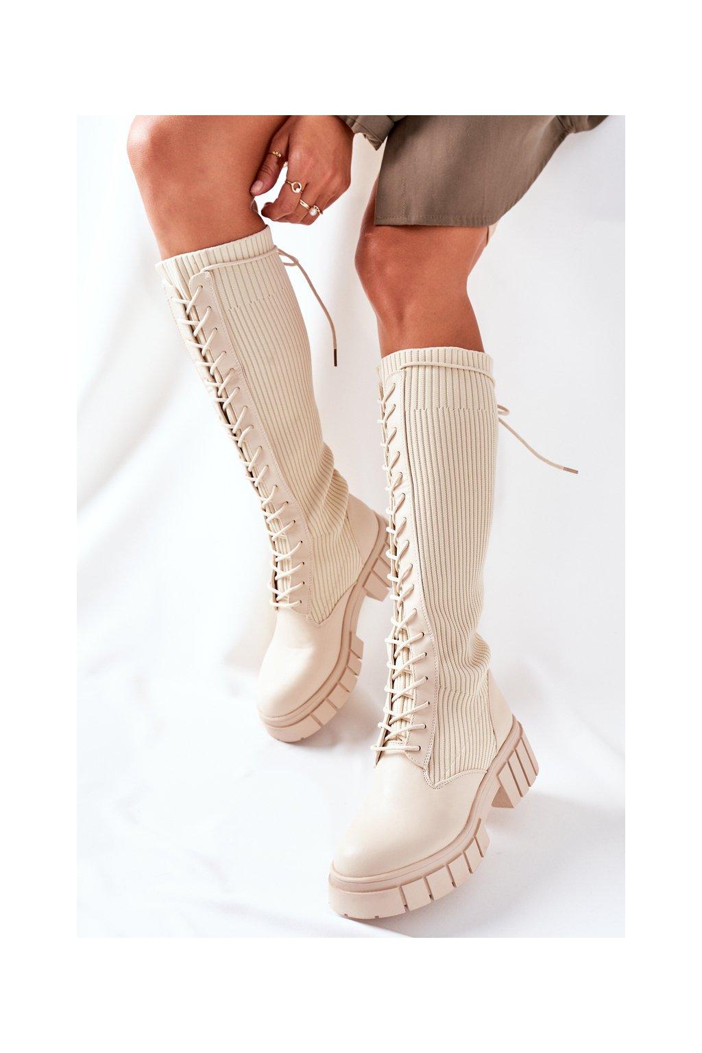 Dámske čižmy farba hnedá kód obuvi QT13 BEIGE