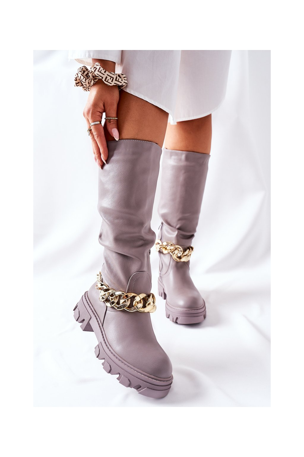 Dámske čižmy farba sivá kód obuvi QT20 GREY