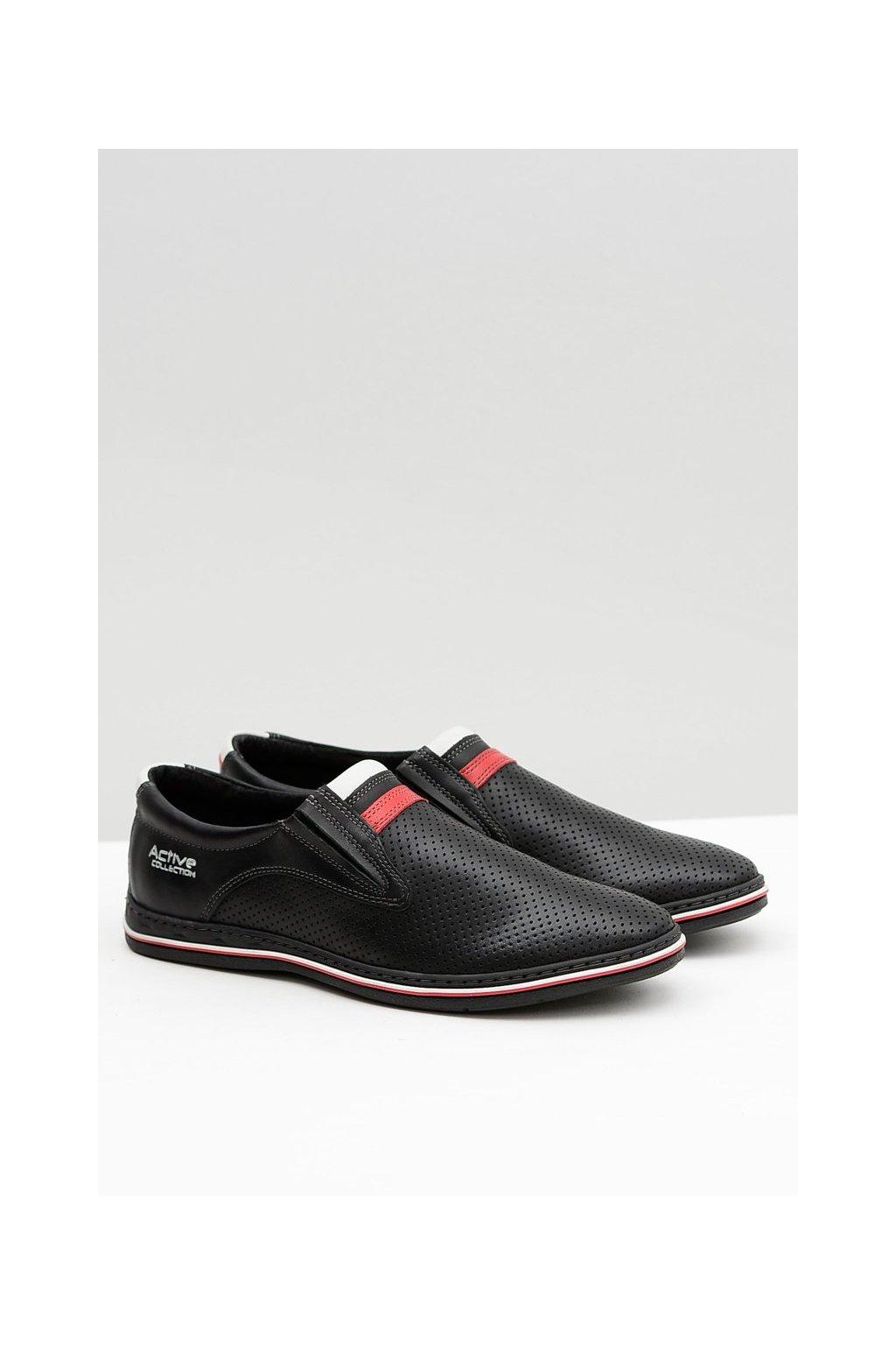 Pánske poltopánky farba čierna kód obuvi 327 PERF/BLK