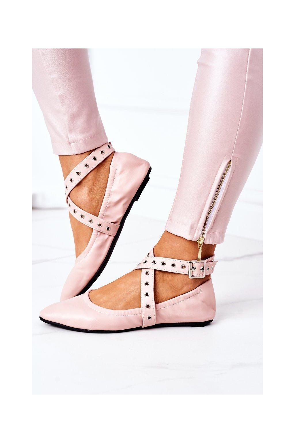 Dámske balerínky farba ružová kód obuvi B12-9 PINK