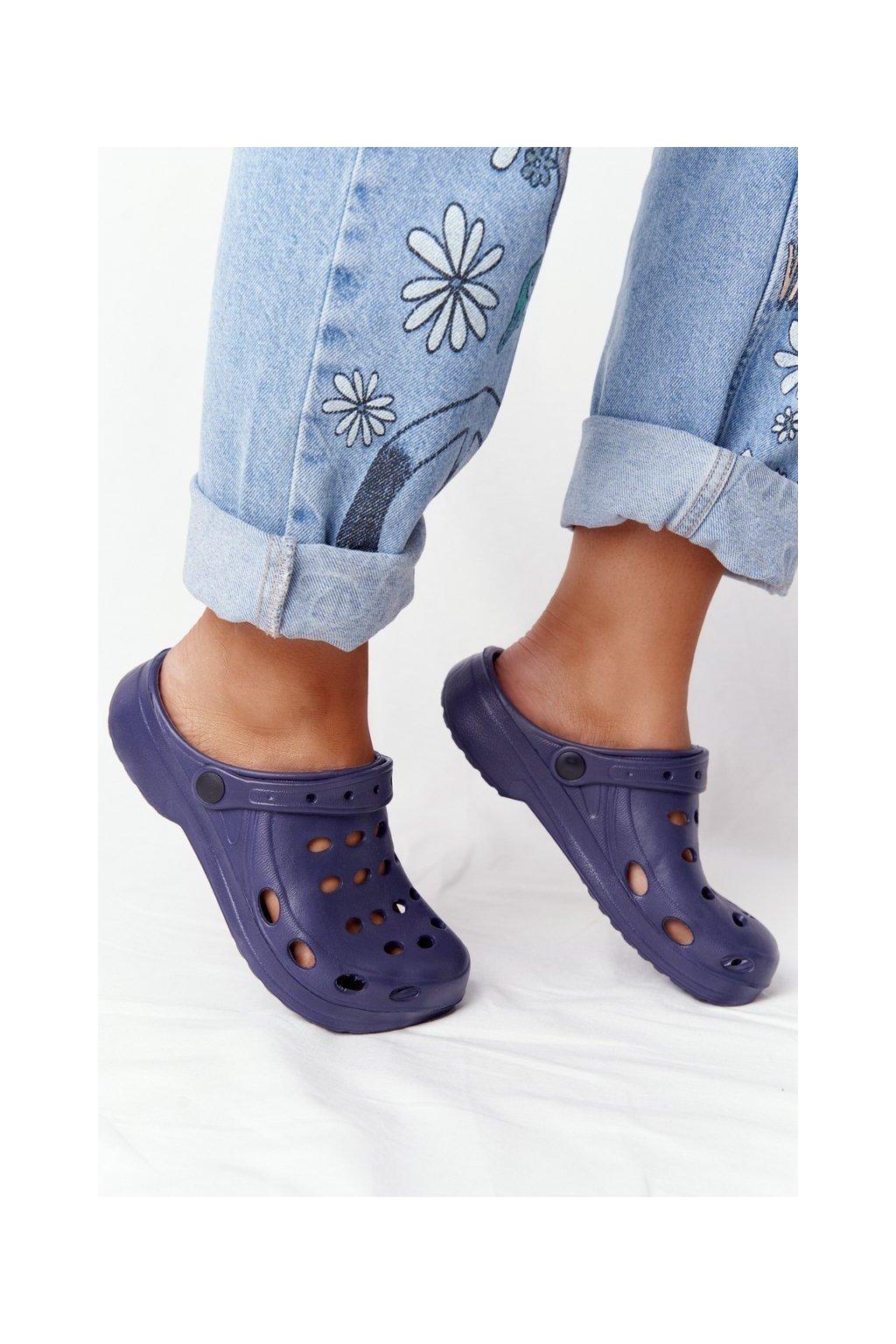 Dámske šľapky farba modrá kód obuvi A-002 NAVY
