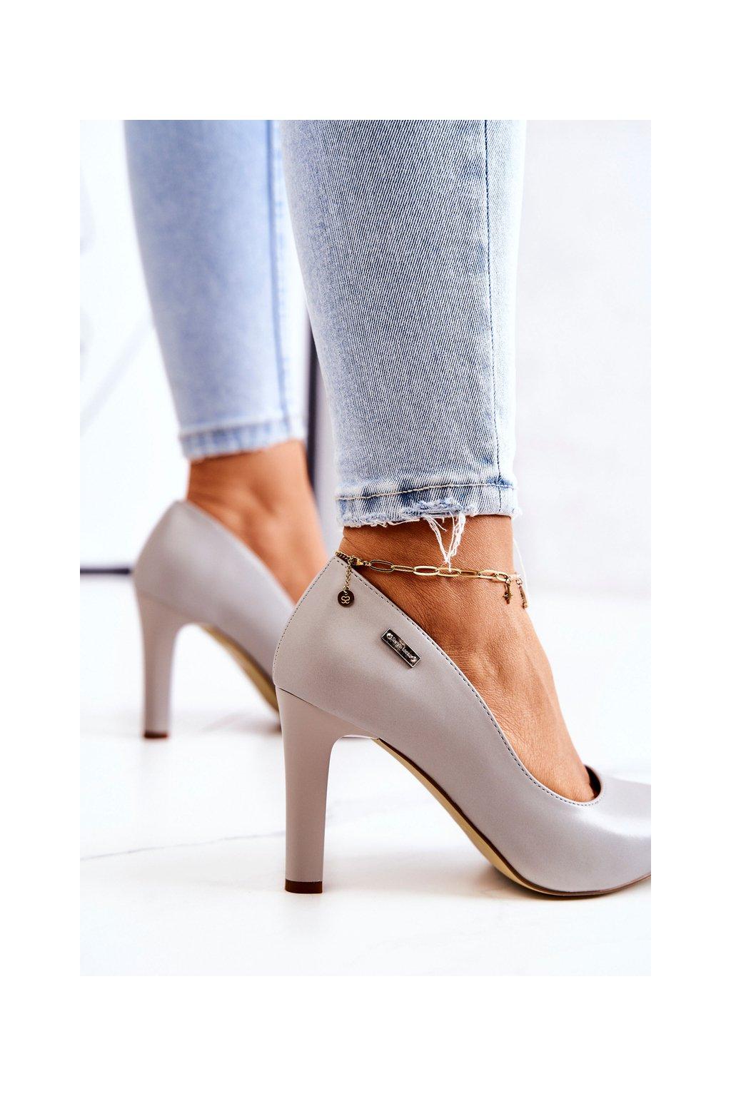 Dámske lodičky farba sivá kód obuvi 1457 GREY PU