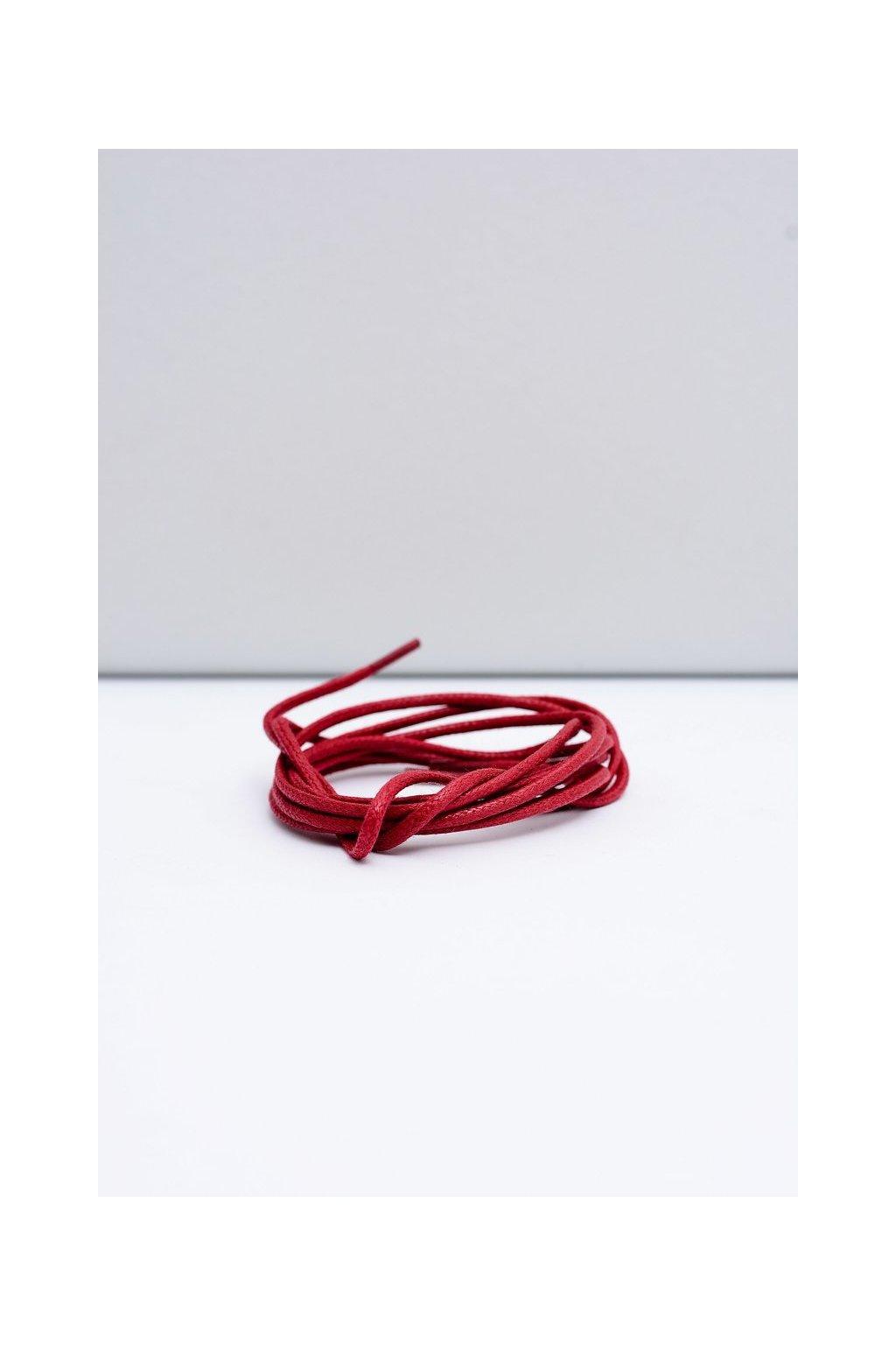 Šnúrky do topánok farba červená kód CZERWONE OKR. CIENKI WOSK