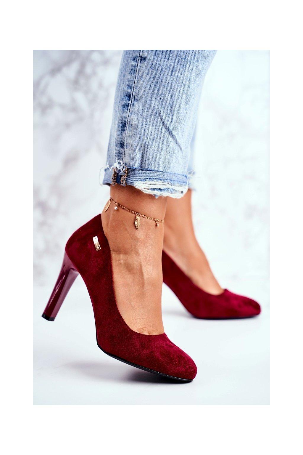 Dámske lodičky farba červená kód obuvi 1457 BORDO MIC