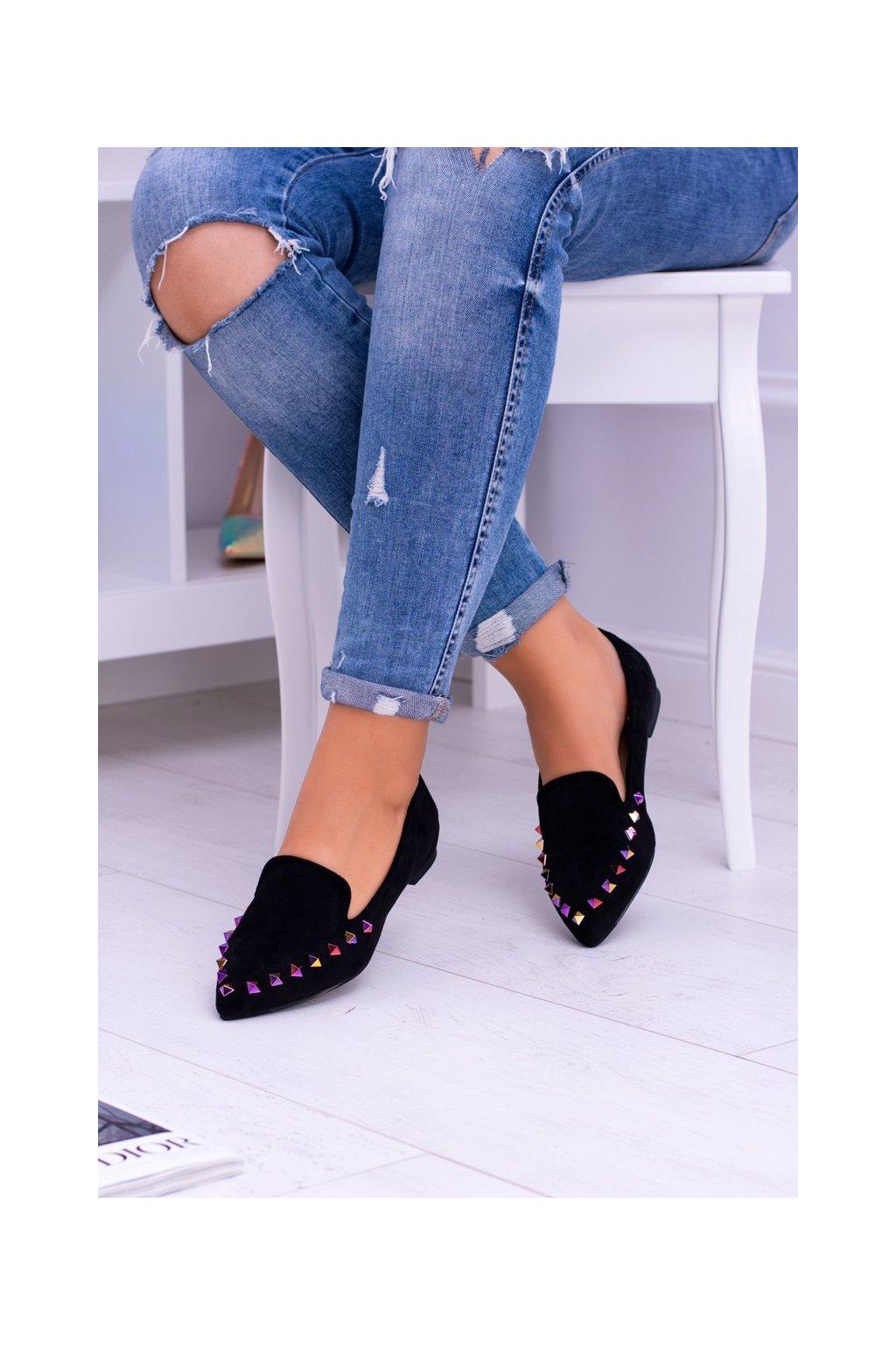 Dámske balerínky farba čierna kód obuvi 128-A5 BLK