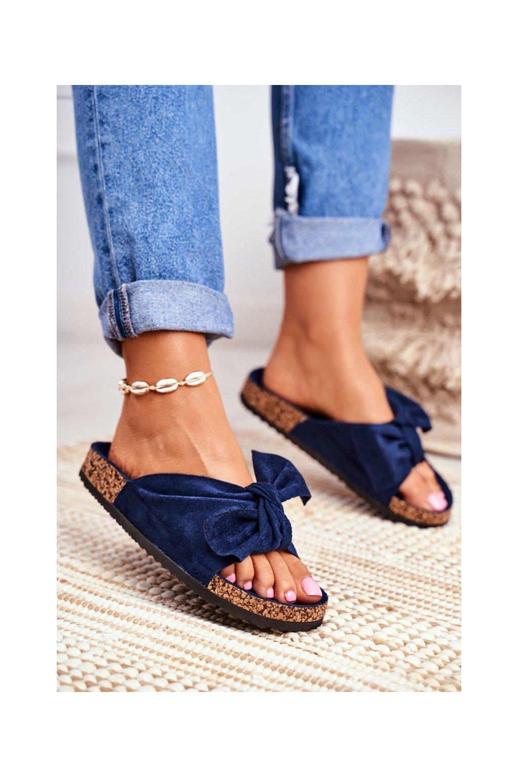 Dámske šľapky farba modrá kód obuvi RS-1 NAVY / CK02 D.BLUE