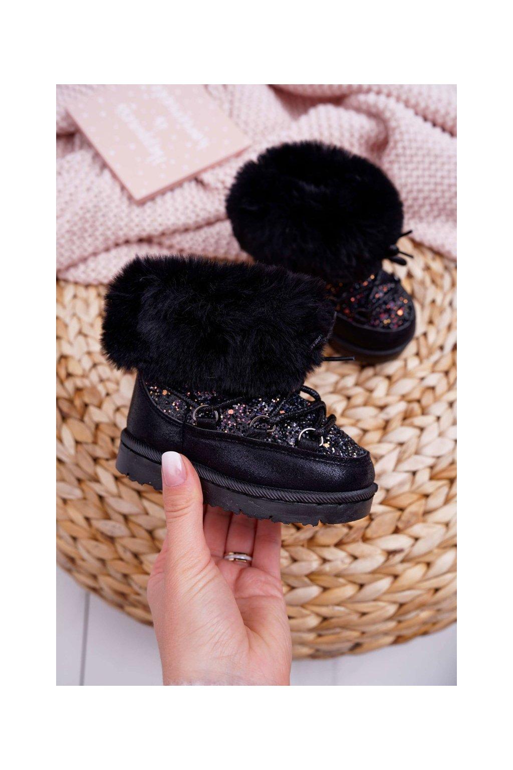 Detské snehule farba čierna kód obuvi 20222-1A/2A/3A BLK
