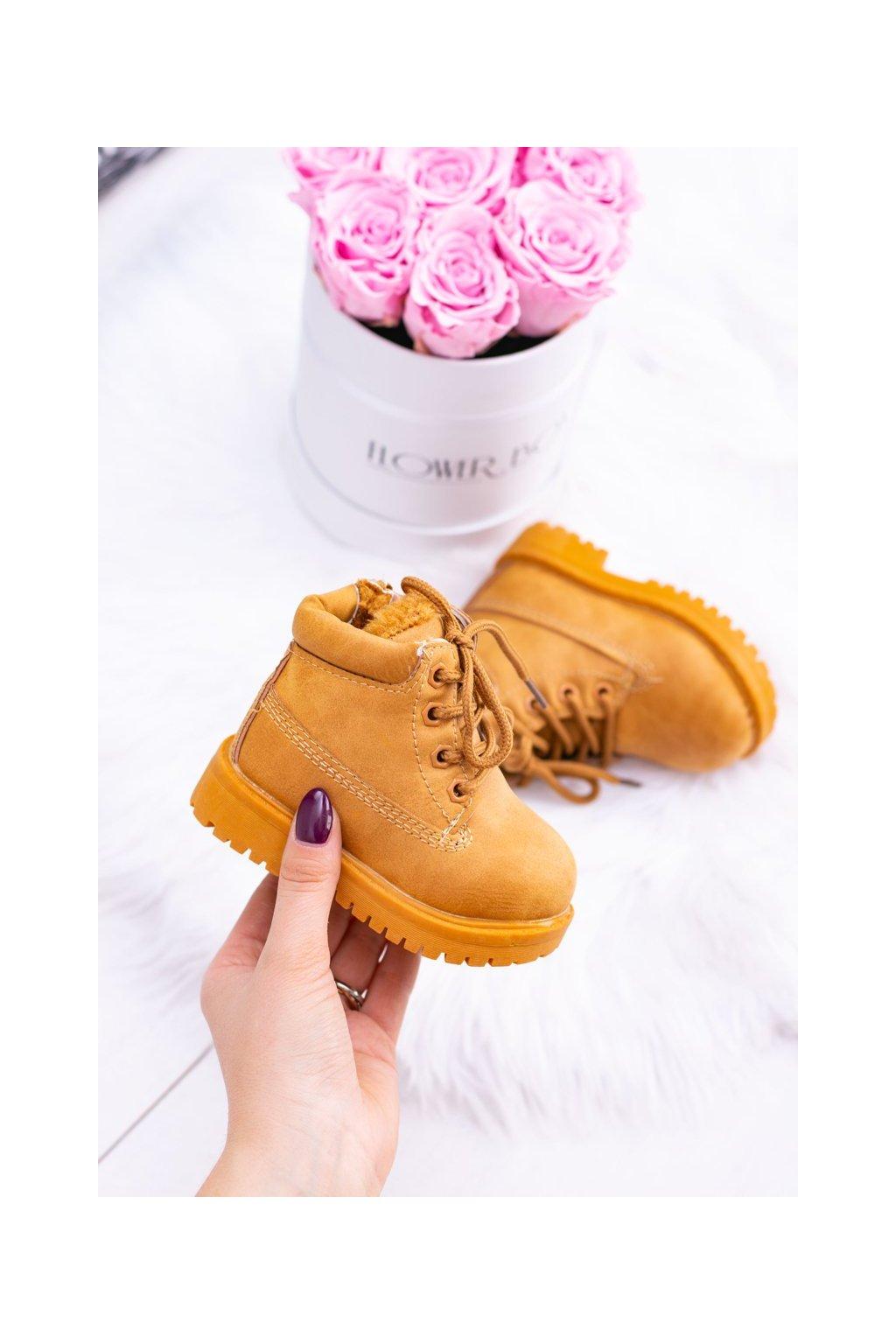 Detské členkové topánky farba hnedá kód obuvi 20306-1B/2B/3B CAMEL