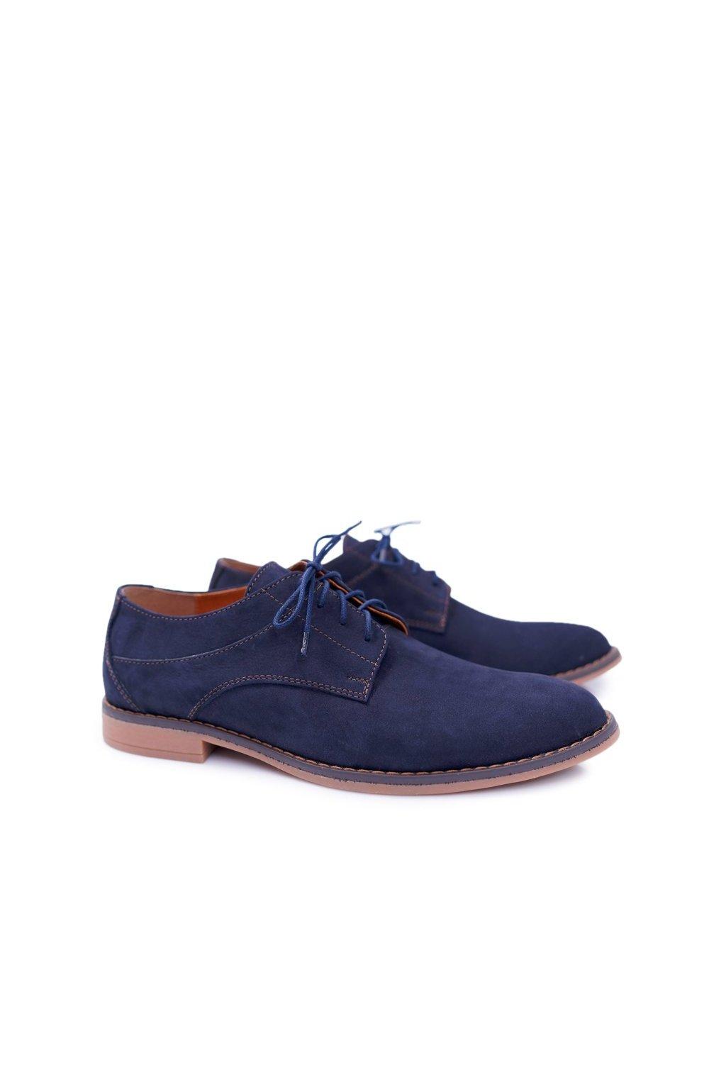 Pánske poltopánky farba modrá kód obuvi 654 NUBUCK NAVY