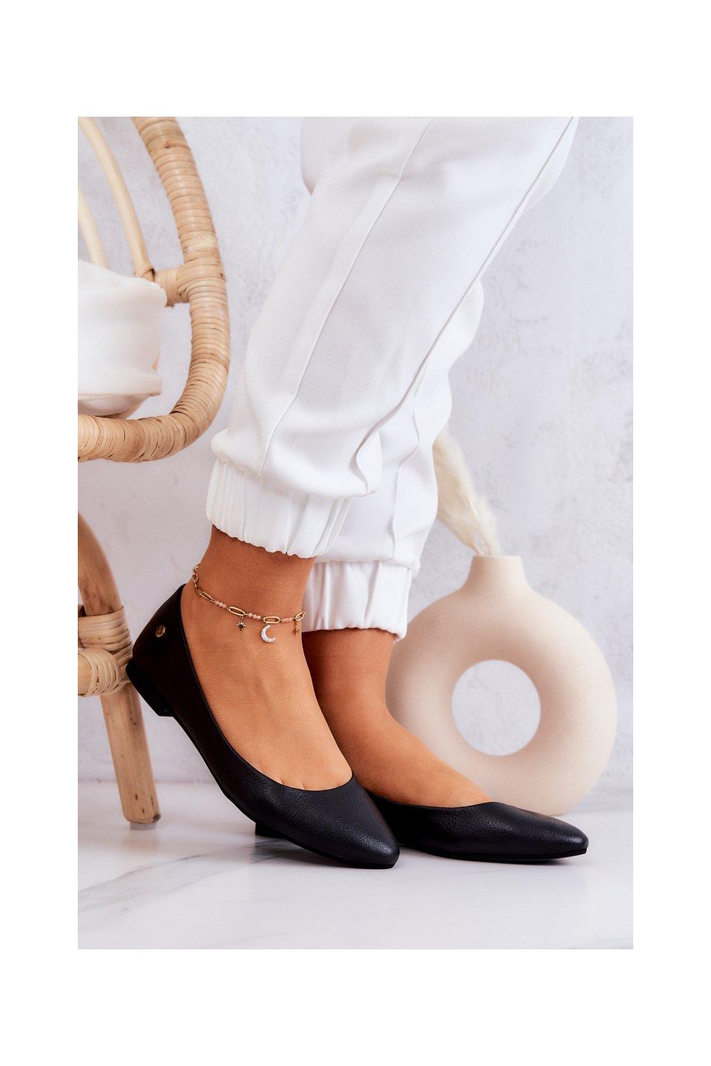Dámske balerínky farba čierna kód obuvi 04100-01/00-8 BLK