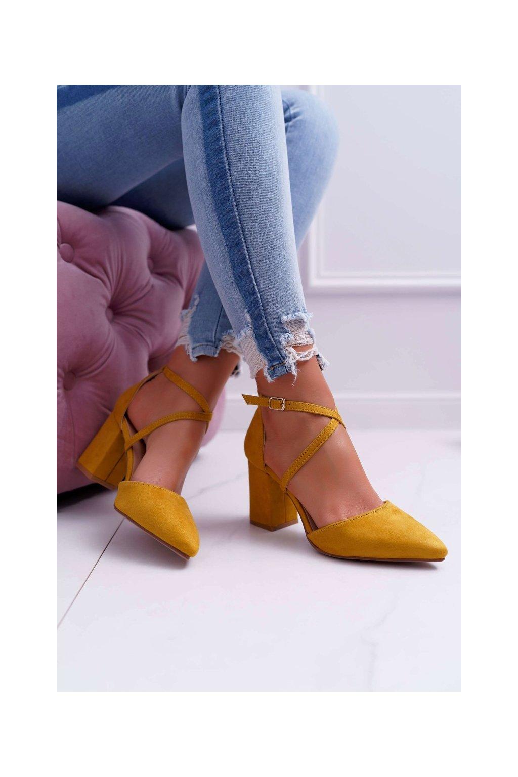 Dámske lodičky farba žltá kód obuvi LE063 YELLOW