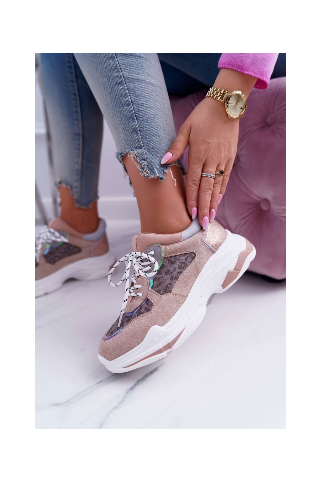 Dámske tenisky farba ružová kód obuvi FY229-1 PINK