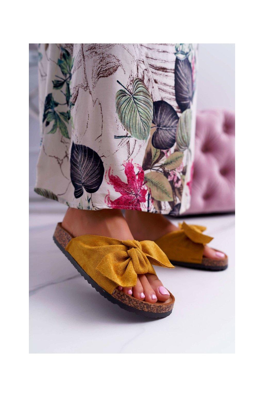 Dámske šľapky farba žltá kód obuvi LS-26 YELLOW