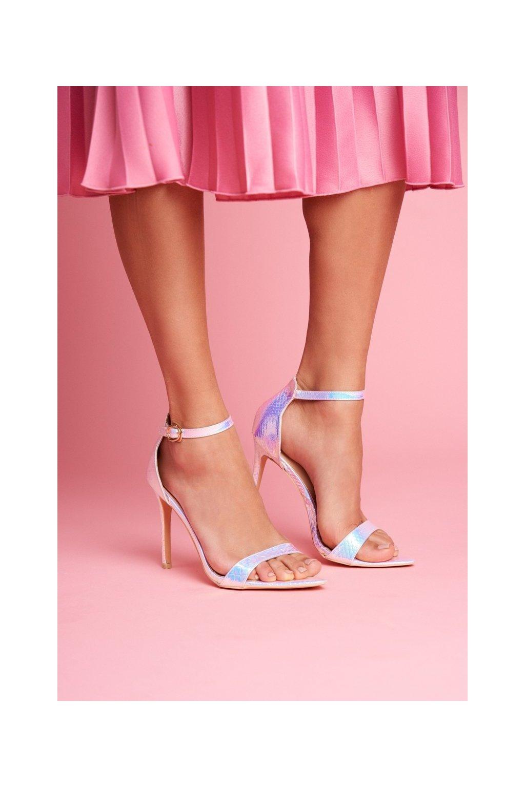 Dámske sandále na podpätku farba viacfarebná kód obuvi 0982-2B L.PURPLE