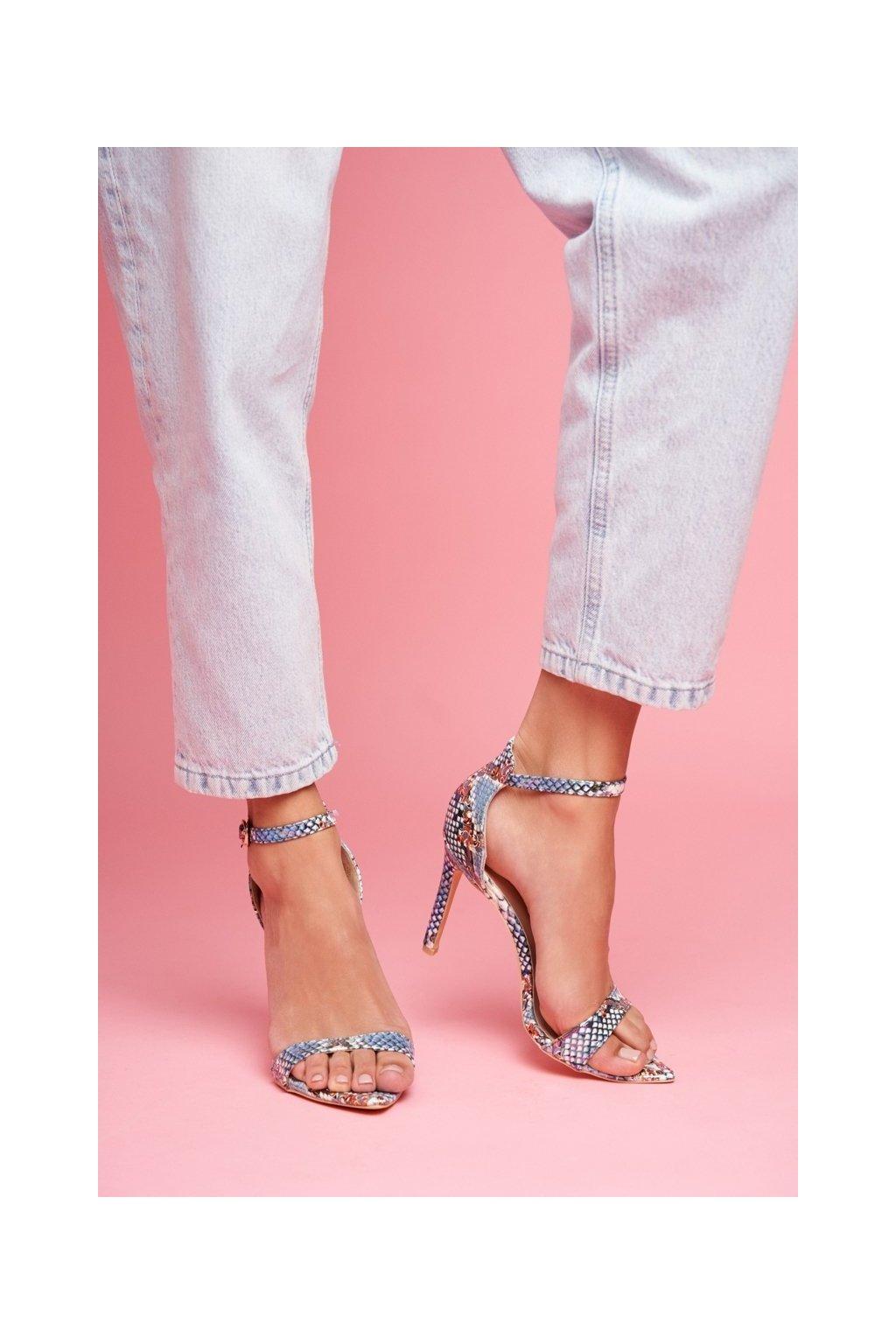 Dámske sandále na podpätku farba viacfarebná kód obuvi B0982-2B L.BLUE