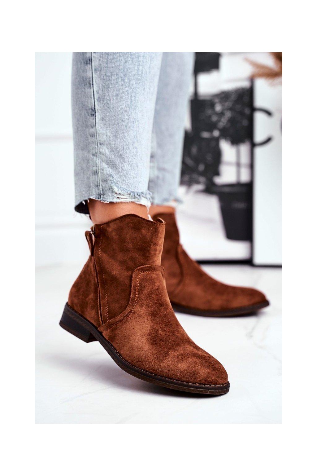 Členkové topánky na podpätku farba hnedá kód obuvi 9BT35-1309 CAMEL