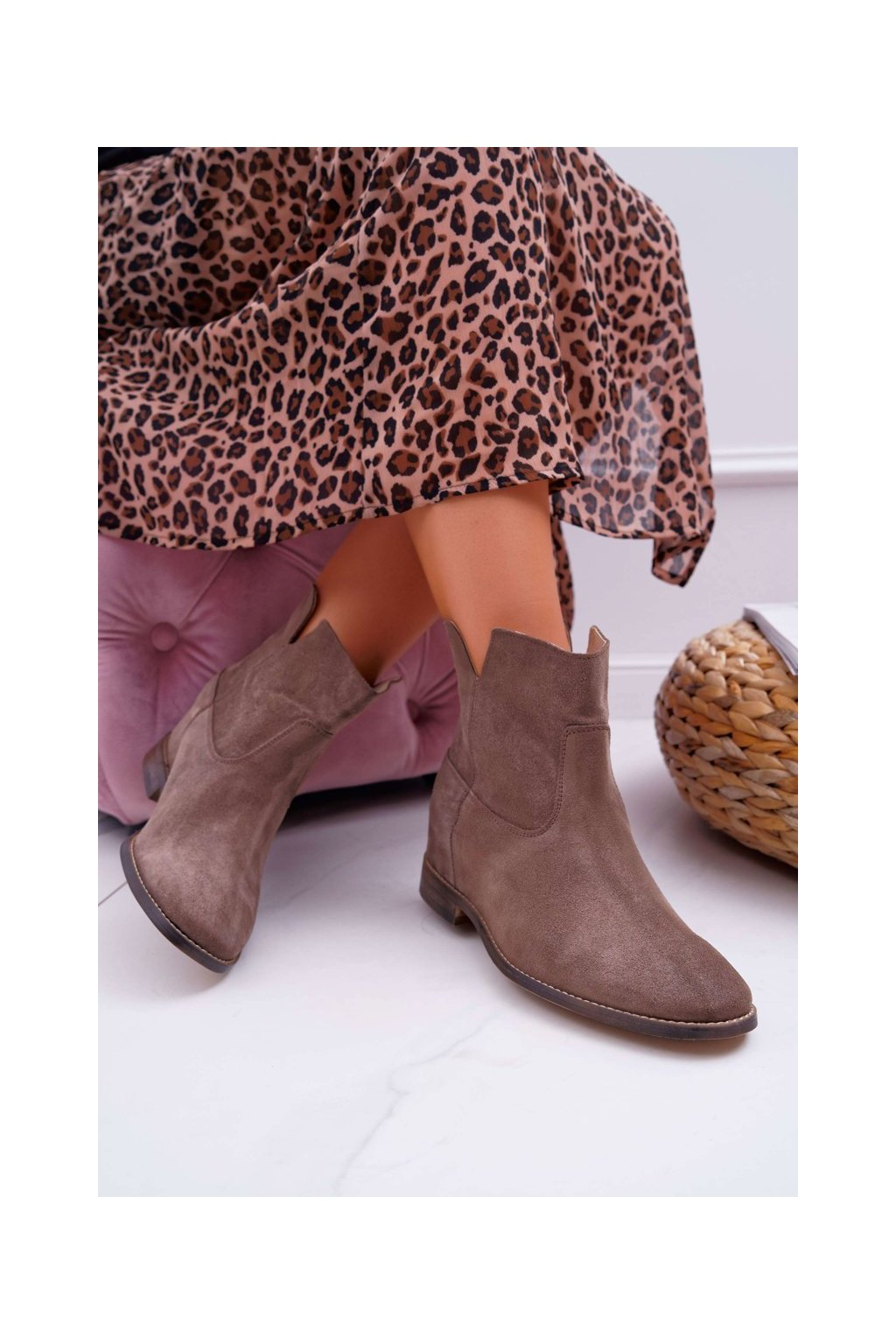 Členkové topánky na podpätku farba hnedá kód obuvi 2419 CAPP/W DARK